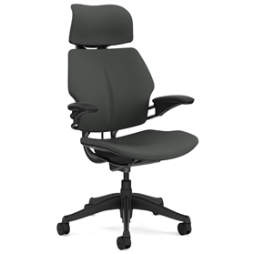 Humanscale Freedom Task Chair with Headrest, Dark Grey Fabric
