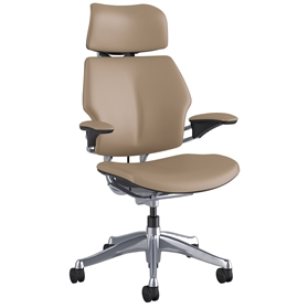 NEXT DAY DELIVERY! Humanscale Polished Freedom Chair, Columbia Sand Luxury Soft Leather, Cocoa Box Stitch Detail