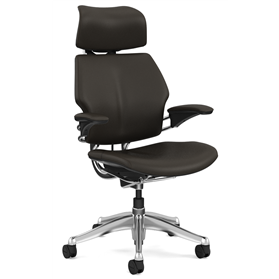 NEXT DAY DELIVERY! Humanscale Polished Freedom Chair, Bizon Terra Dark Brown Leather, Cocoa Box Stitch Detail