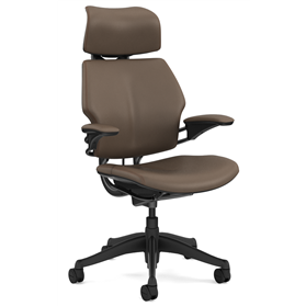 Humanscale Graphite Freedom Chair, Bizon Miso Light Brown Leather, Tan Box Stitch Detail
