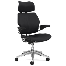 Humanscale Polished Freedom Chair, Columbia Noir Black Luxury Soft Leather, Noir Box Stitch