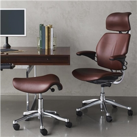 Humanscale Polished Leather Freedom chair with Saddle Stool