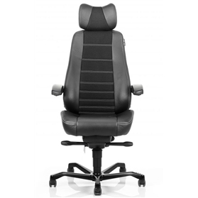 KAB Controller Heavy Duty 24HR Chair, Black leather sides