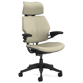 Humanscale Graphite Freedom Chair, Columbia Pebble Premium Leather