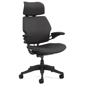 Humanscale Graphite Freedom Chair, Columbia Slate Premium Leather