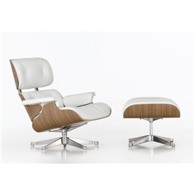 Vitra Eames Lounge Chair and Ottoman By Charles and Ray Eames White Pigmented Walnut
