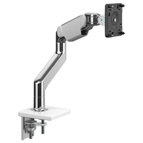 IN STOCK Humanscale M8.1 Heavy Duty Monitor Arm, Polished Aluminium with White Trim