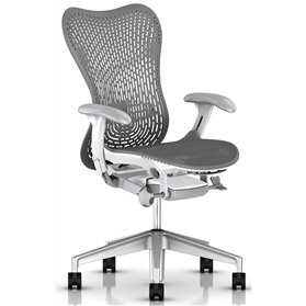 Herman Miller Mirra 2, TriFlex II Back, Slate Grey with White Frame Alloy Base