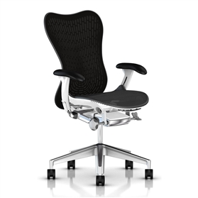 Herman Miller Mirra 2 Graphite, White Semi-Polished Base, Black Arms
