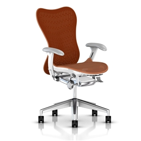 Herman Miller Mirra 2 Urban Orange, White Semi-Polished Base
