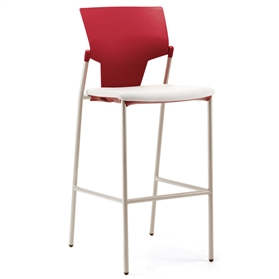 Pledge Ikon Plastic Four Leg Stool Upholstered Seat