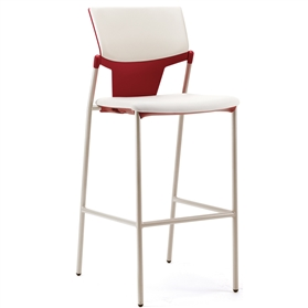 Pledge Ikon Plastic Four Leg Stool Upholstered Seat & Back
