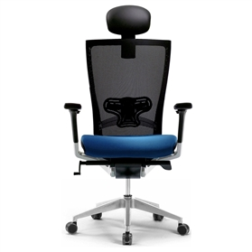 Techo Sidiz Chair with Headrest in Black & Blue