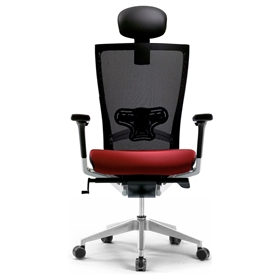 Techo Sidiz Chair with Headrest in Black & Red