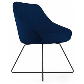Viasit Calyx Contemporary Lounge Chair, Steel Skid Frame