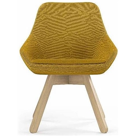 Viasit Calyx Contemporary Lounge Chair, Wooden Base